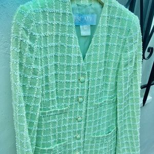 NWOT Escada mint green V neck jacket w/4 pockets